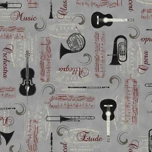 Tissus - Instrument de musique sur fond gris